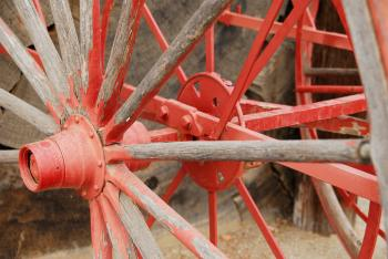Painted Red Wagon Wheel