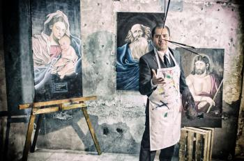 Painter With Apron Beside Portrait Paintings