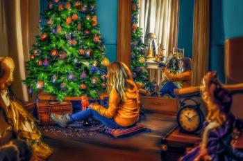 Painting of a Girl at Christmas