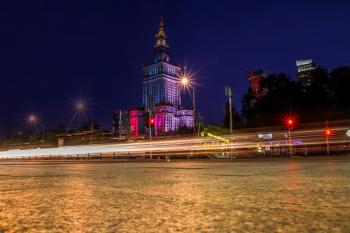 Palace of Culture and Science, Warsaw by night, Poland