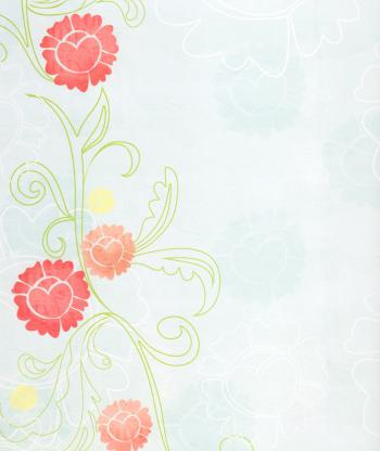 Pale Blue Paper With Red Flowers