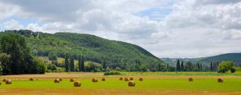 Panoramic Photograph of Haystacks on Field