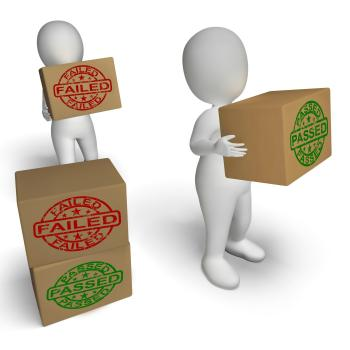 Passed And Failed Boxes Show Product Testing Or Verification