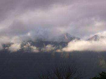 Peak mountains with clouds