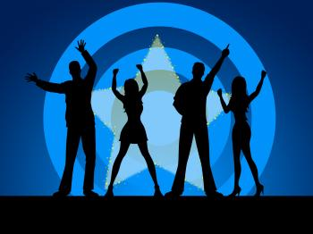 People Disco Indicates Silhouettes Friends And Outline