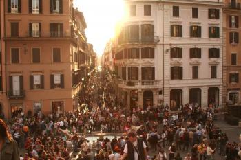 People Gathering during Sunset