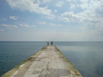People on a sea dock