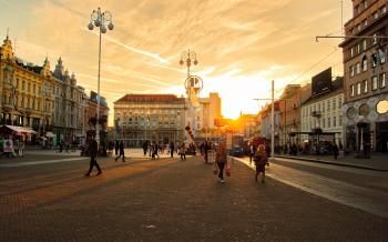 People On The Street During Sunset