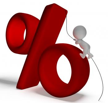 Percent Sign With 3d Man Climbing Showing Percentage