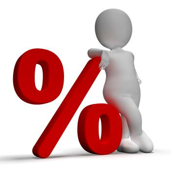 Percent Sign With 3d Man Shows Percentage Or Discount