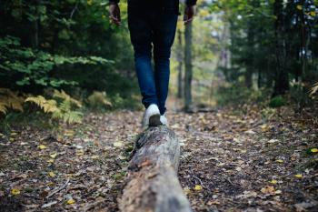 Person Walking on Log in Forest