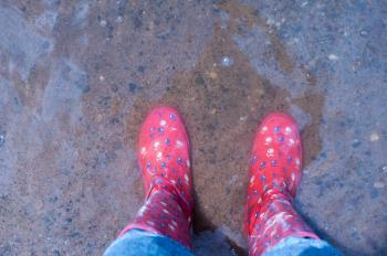 Person Wearing Pink Knee-high Rain Boots Standing on Brown Floor