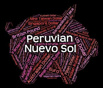 Peruvian Nuevo Sol Represents Currency Exchange And Banknote