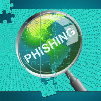 Phishing Magnifier Represents Malware Hacker And Hacked