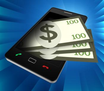 Phone Dollars Indicates World Wide Web And Banking