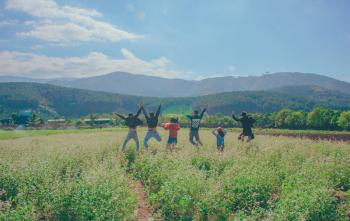 Photo of People Jumping on Green Grass Field