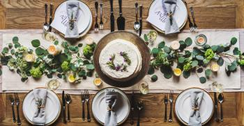 Photo of White Dinnerware Plate Set on Table