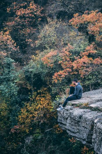 Photography of Man Wearing Black Hoodie With Black Pants Sitting on Stone Cliff Above Green and Red Leaved Forest