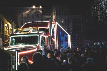 Photography of People Gathered Beside Coca-cola Truck during Nighttime