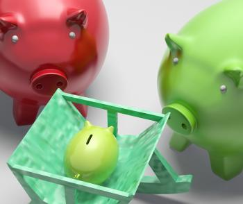 Piggy Bank Family Shows Planning And Protection
