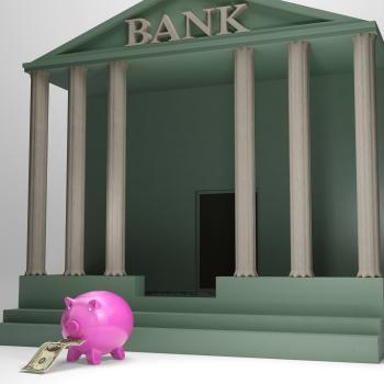 Piggybank Leaving Bank Showing International Currencies