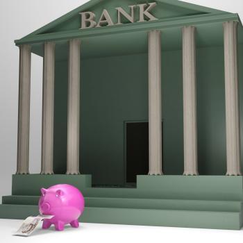 Piggybank Leaving Bank Shows Money Withdrawal