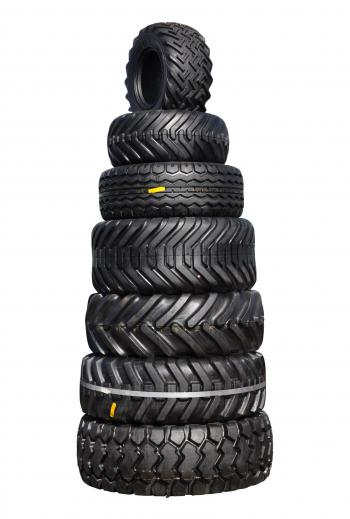 Pile of tractor tyres