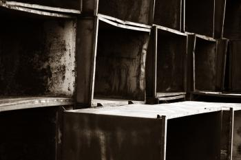 Piled metal boxes