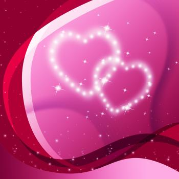 Pink Hearts Background Means Valentine Desire And Partner