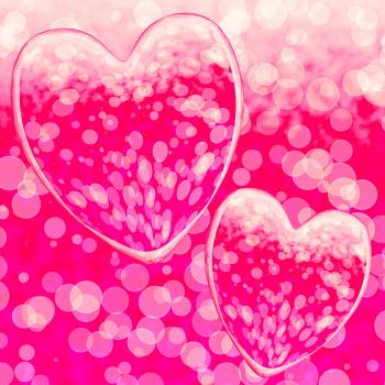 Pink Hearts Design On A Bokeh Background Showing Romance And Romantic