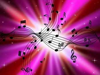 Pink Music Background Shows Musical Instruments And Brightness