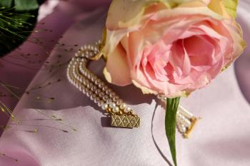 Pink Rose and Gold Beaded Jewelry