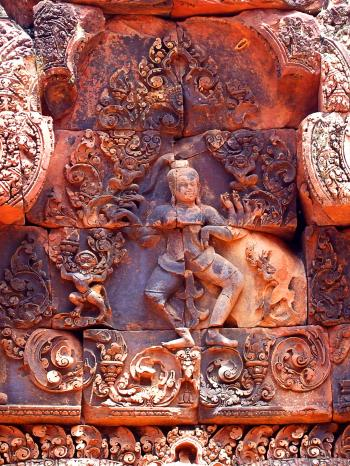 Pink stone carvings of Banteay Srei