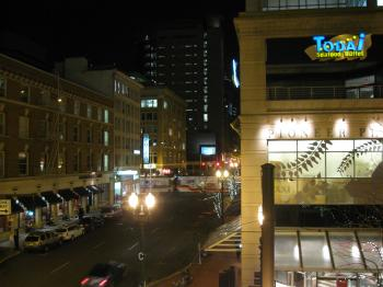Pioneer Place in Portland at night