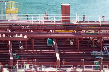 Piping on the Deck of an Oil Tanker