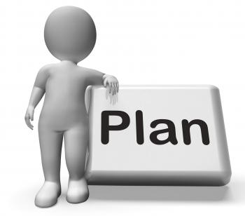 Plan Button With Character Shows Objectives Planning And Organizing