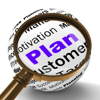 Plan Magnifier Definition Means Planning Or Objective Managing