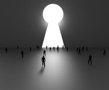 Planning Man Indicates Key Hole And Aspire