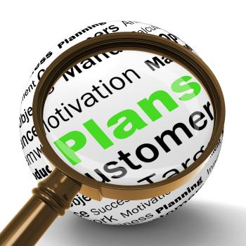 Plans Magnifier Definition Shows Customers Target Arrangement Or Aim