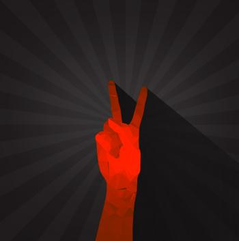 Polygonal hand displaying victory sign
