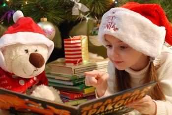 Portrait of Girl Wearing Christmas Hat