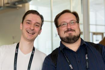 Posed portrait of OliverJT (Synthesis Universe) and Reverend Kyle at SVVR
