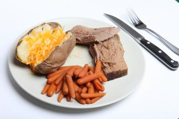 Pot Roast, Carrots and Baked Potato