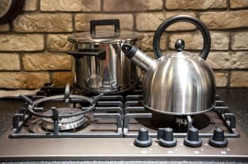 Pots on kitchen stove