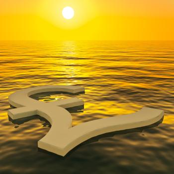 Pound Floating And Sunset Showing Money Wealth Or Earnings