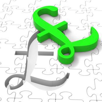 Pound Puzzle Showing United Kingdom Banking