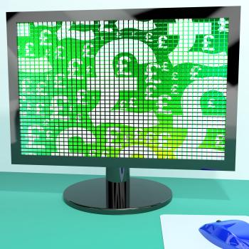 Pound Symbols On Computer Monitor Showing Money And Investment