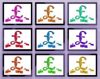 Pound Symbols On Monitors Showing Britain Finances