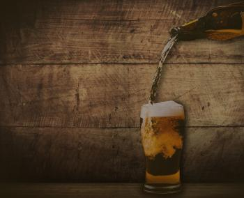 Pouring beer - washed out vintage look