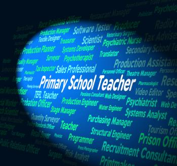 Primary School Teacher Shows Give Lessons And Educate